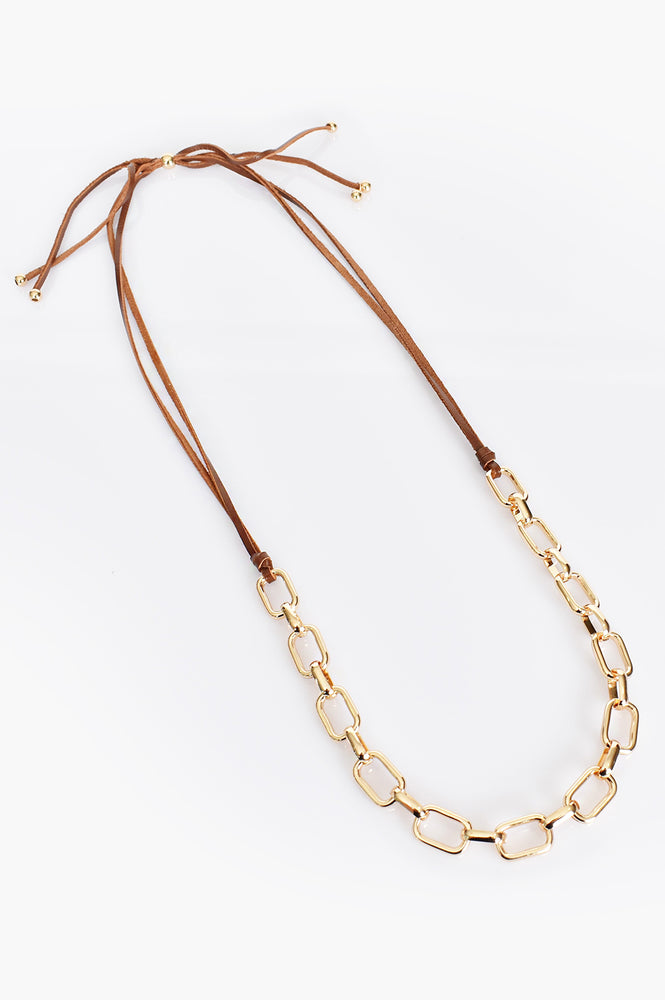 Adjustable Leather & Chain Necklace (Tan/Gold)