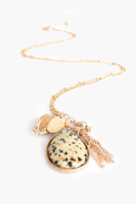 Stone Teardrop Cluster Necklace (Spot/Gold)