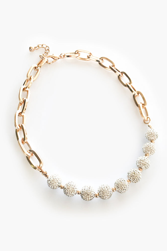 Diamante Ball and Chain Necklace (Gold/Crystal)