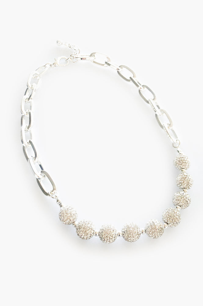 Diamante Ball and Chain Necklace (Silver/Crystal)