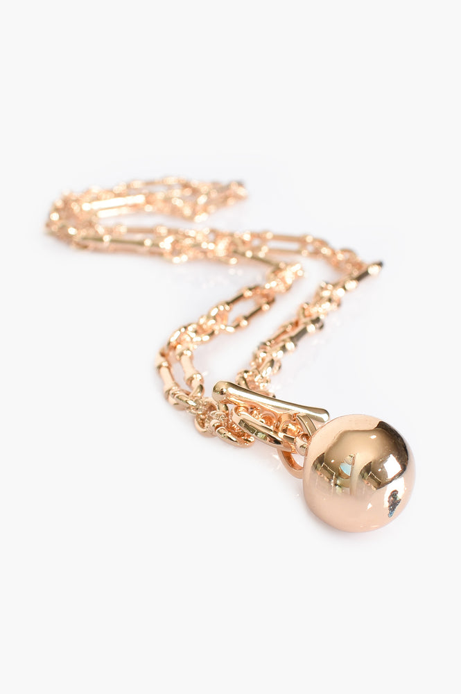 Vintage Chain and Ball Necklace (Gold)
