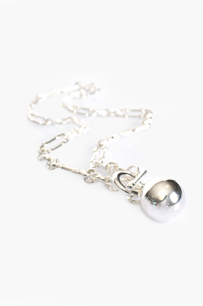 Vintage Chain and Ball Necklace (Silver)