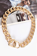 Heart Clasp Statement Chain Necklace (Gold)