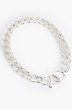 Heart Clasp Statement Chain Necklace (Silver)
