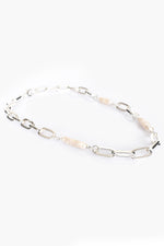 Chain Link and Long Pearl Short Necklace (Silver)