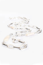 Chain Link and Long Pearl Long Necklace (Silver)