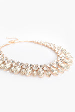 Kiara Diamante Jewel Short Necklace (Crystal/Gold)