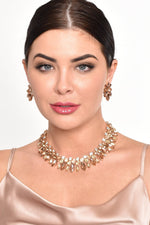 Kiara Diamante Jewel Short Necklace (Peach/Gold)