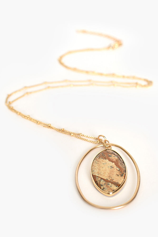 Stone Ring Drop Pendant Necklace (Tan/Gold)