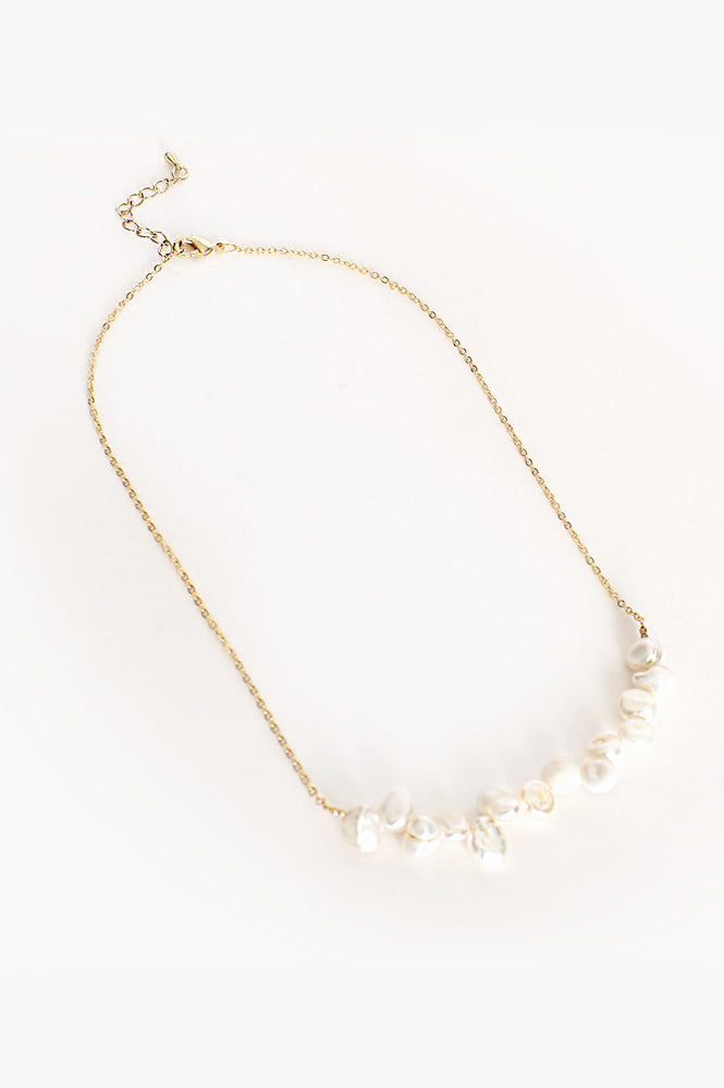 Freshwater Pearl Panel Short Necklace (Cream/Gold)