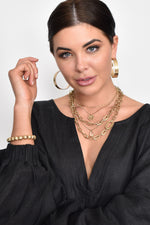 Casey Chain Layers Pendant Necklace (Gold)