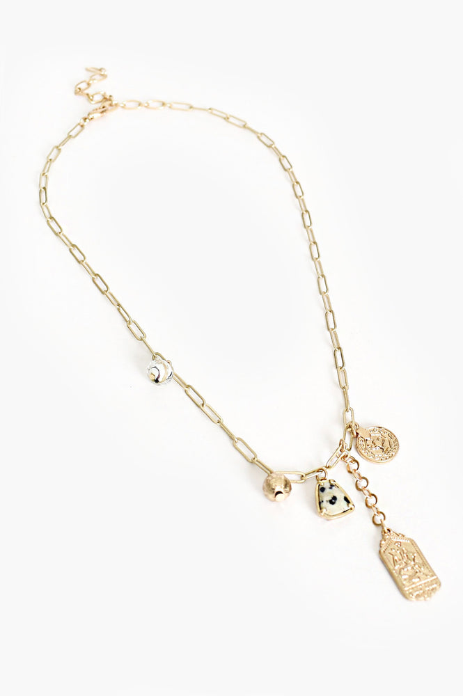 Roma Charm Drop Necklace (Gold)