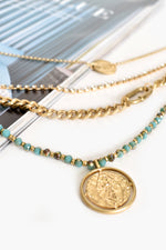 Layered Stone Coin Charm Necklace (Turq/Gold)