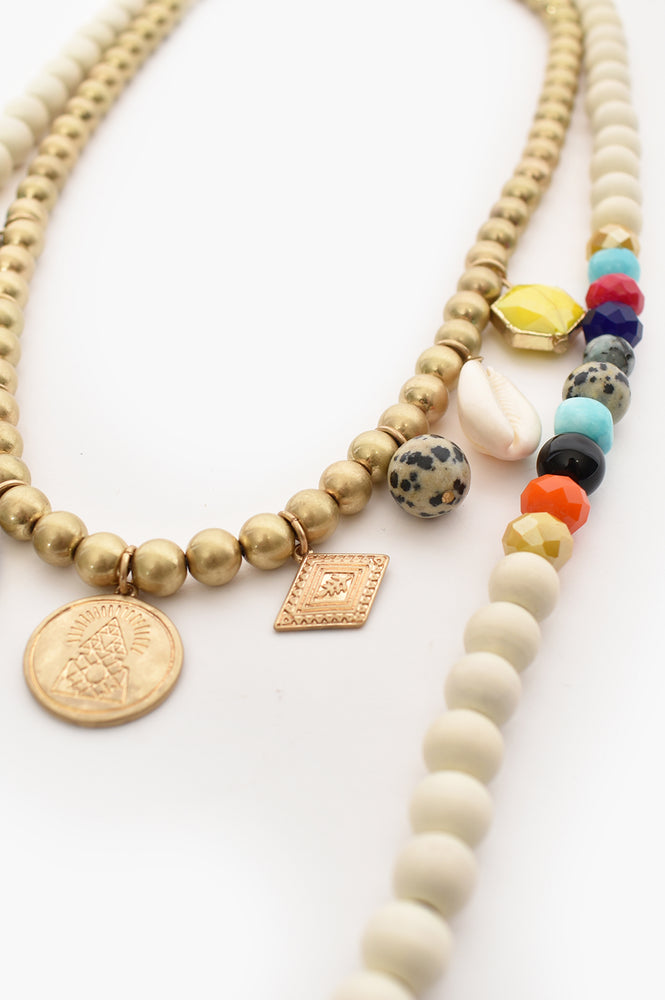Rio Mixed Bead Charm Layer Necklace (White/Multi)