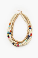 Mixed Bead Ball Layer Short Necklace (White/Multi)