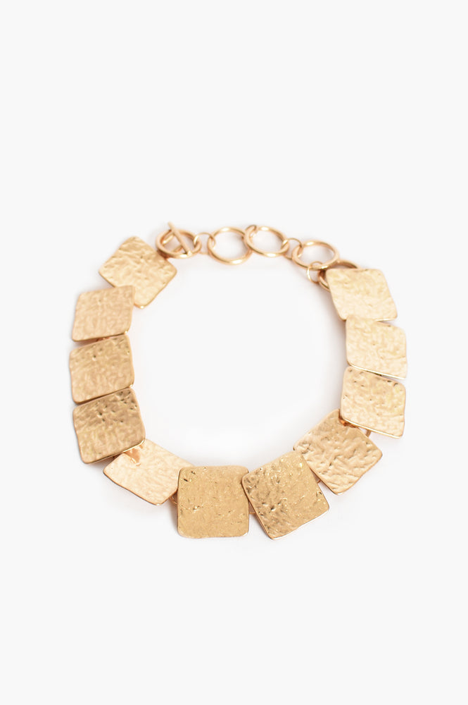 Beaten Disc Necklace (Gold)
