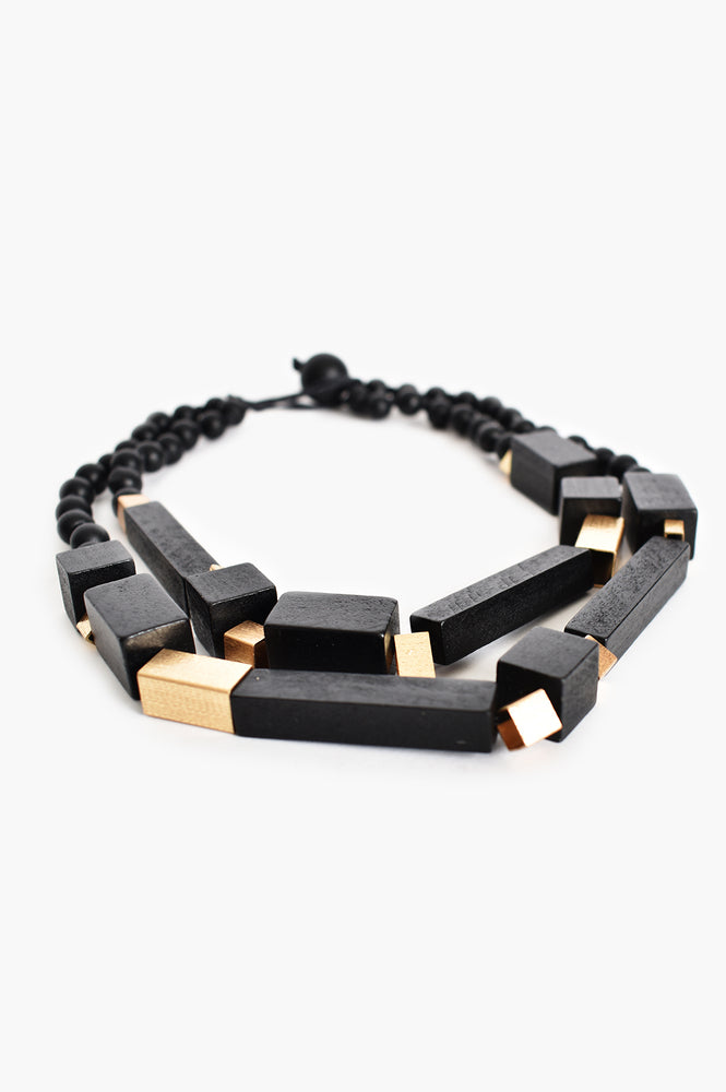 Timber Rod Front Short Necklace (Black)