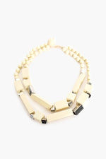Timber Rod Front Short Necklace (White)