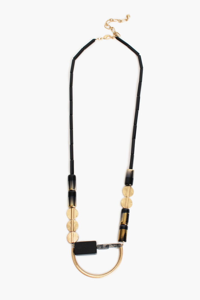 Geo Disc Rods Long Necklace (Black)