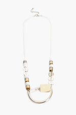 Geo Disc Rods Long Necklace (White)