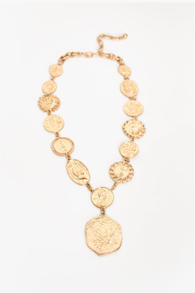 Roman Coin Statement Necklace (Gold)