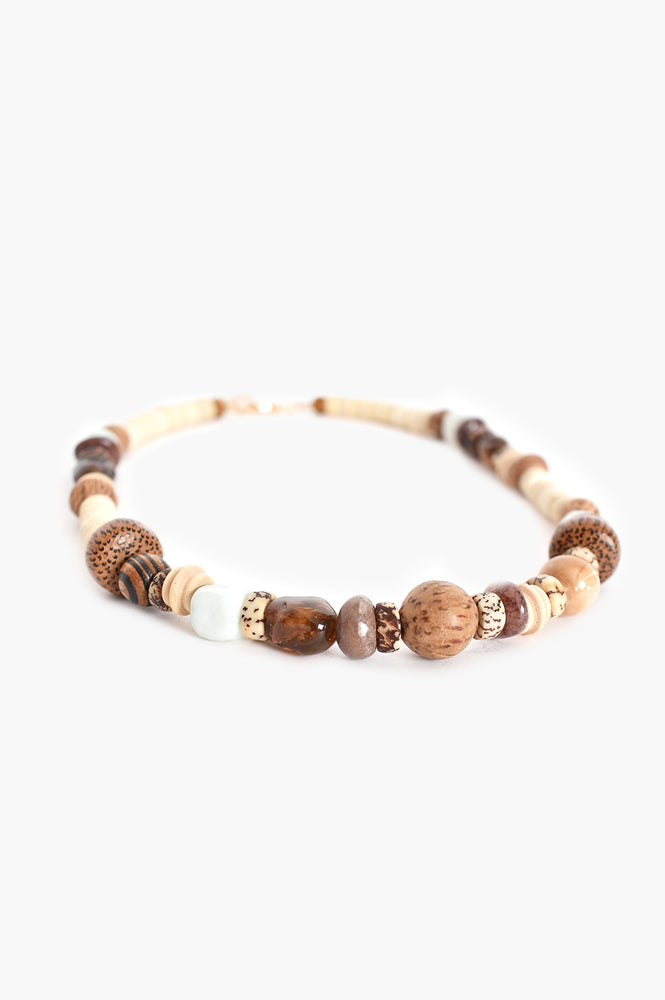 Stone Timber Panels Short Necklace (Cream)
