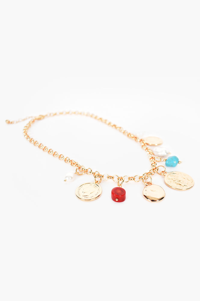 Charms Coral Mix Short Necklace (Red/Gold)