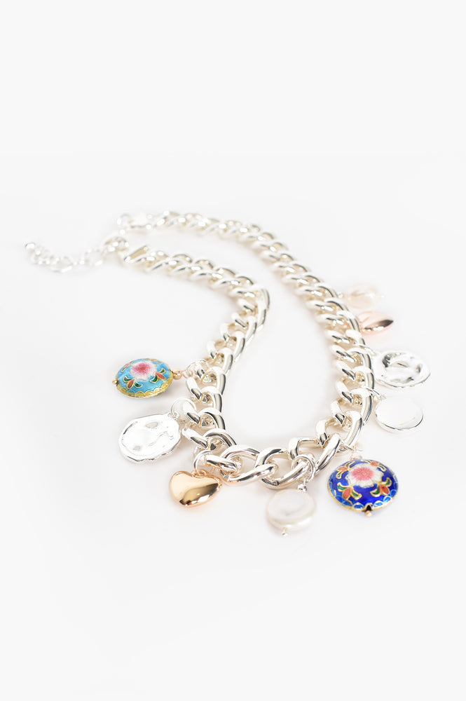 Mixed Charms Short Necklace (Silver/Blue)