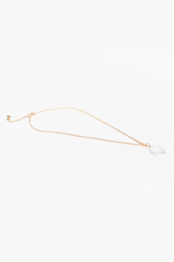 Simple Pearl Drop Layering Necklace (Gold/Cream)