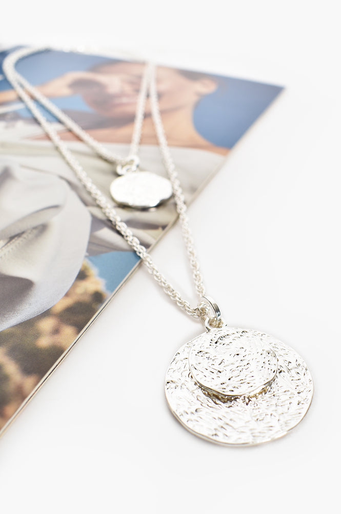 Double Layer Disc Long Necklace (Silver)