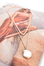 Freshwater Pearl Drop Layer Necklace (Rose/Cream)