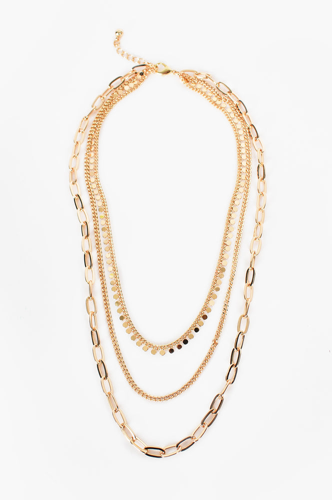 Mult Chain Layered Necklace (Gold)