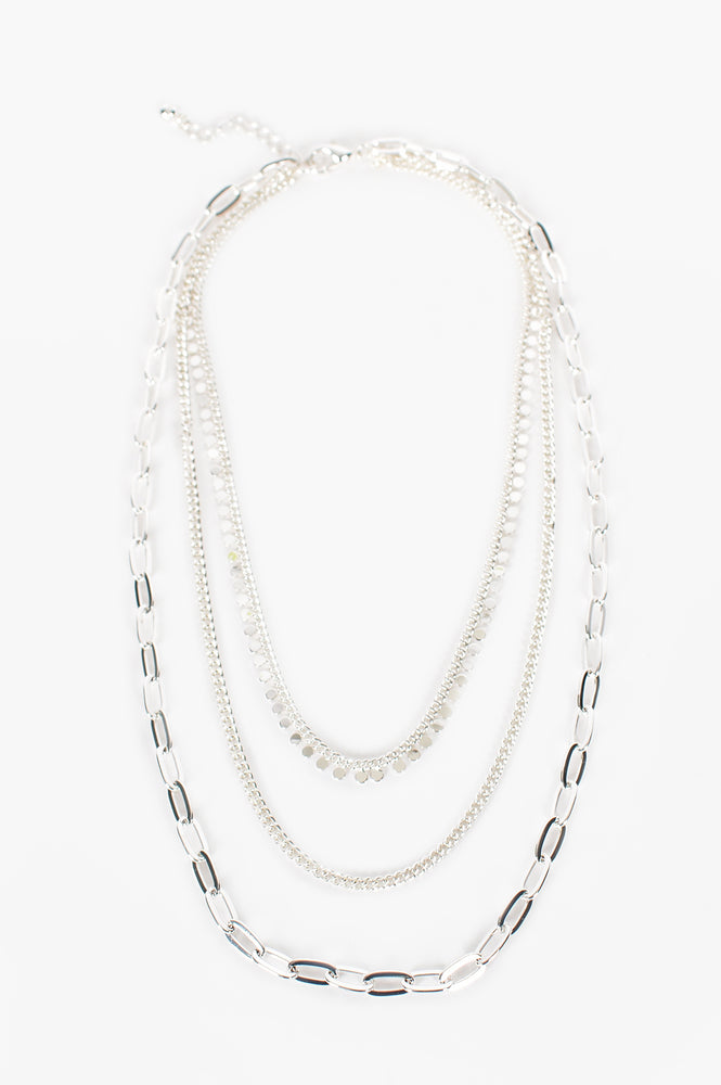Mult Chain Layered Necklace (Silver)