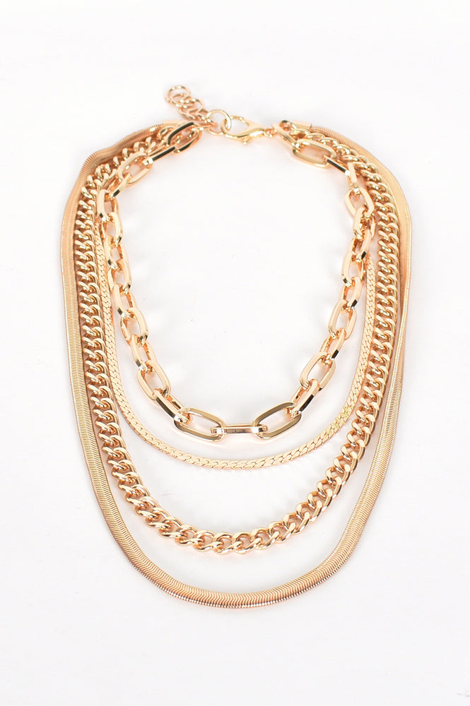 Layers Multi Chain Necklace (Gold)
