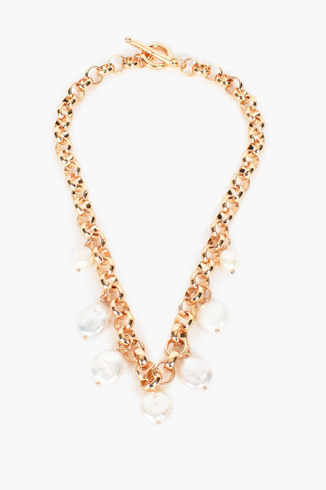 Chunky Pearl Short Necklace (Gold/Cream)