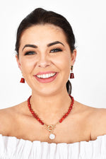 Toggle Front Pearl Stone Necklace (Red/Cream)