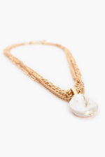 Freshwater Button Pearl Layered Chain Necklace (Gold)