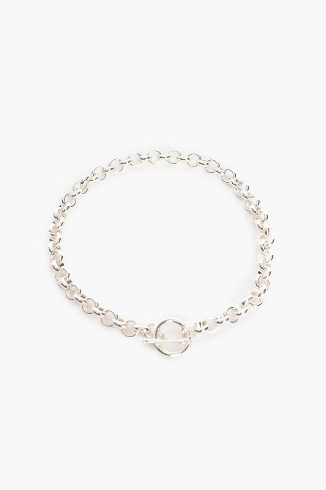 Round Chain Link Toggle Detail Necklace (Silver)