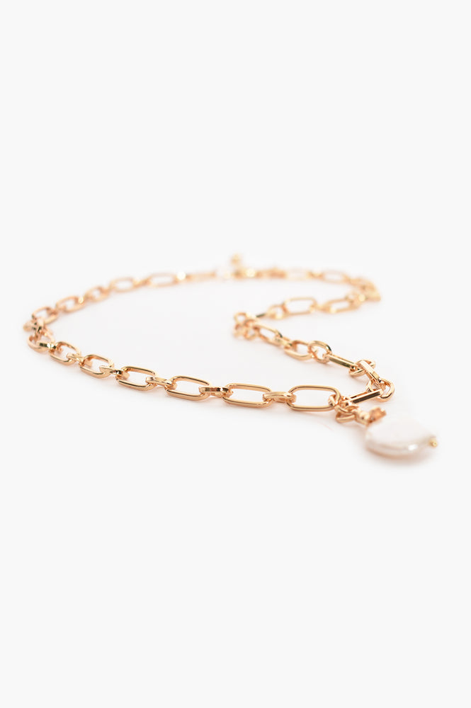 Open Link Chain Pearl Drop Necklace (Gold)