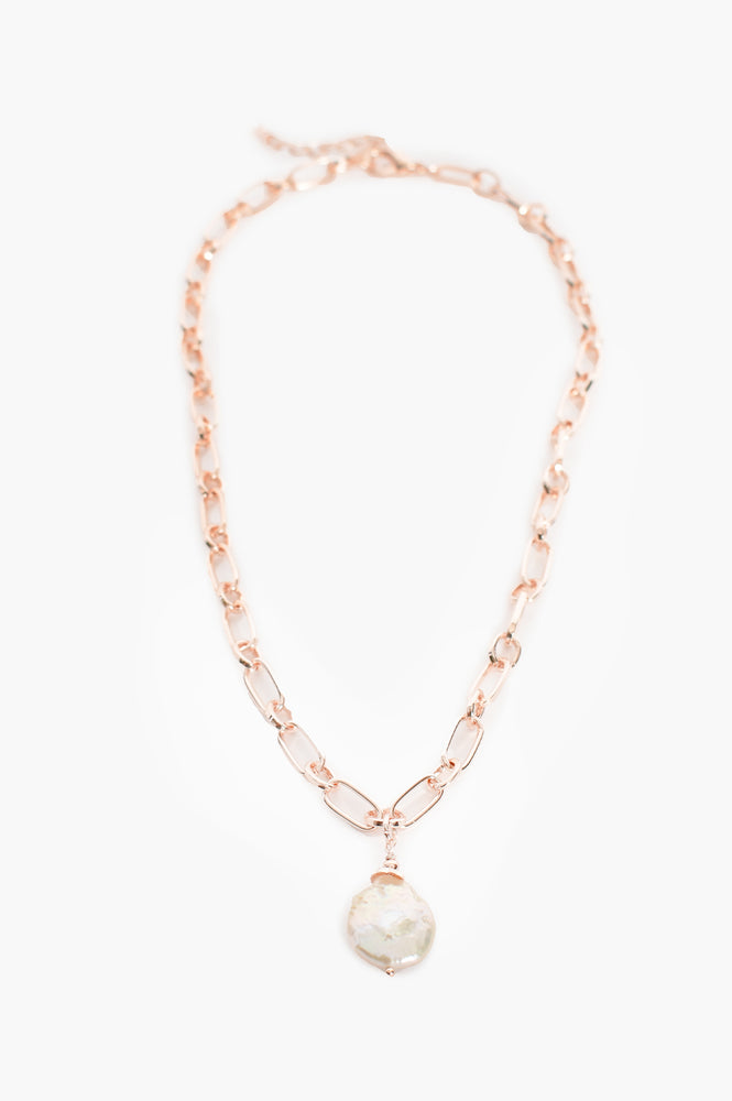 Open Link Chain Pearl Drop Necklace (Rose)