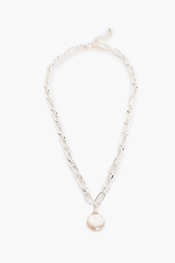 Open Link Chain Pearl Drop Necklace (Silver)