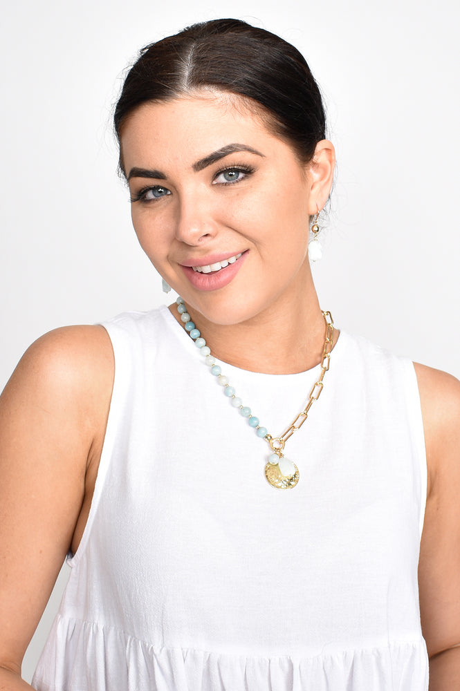 Stone Chain Pendant Cluster Necklace (Pink/Gold)