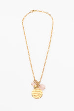 Disc Stone Cluster Necklace (Pink/Gold)