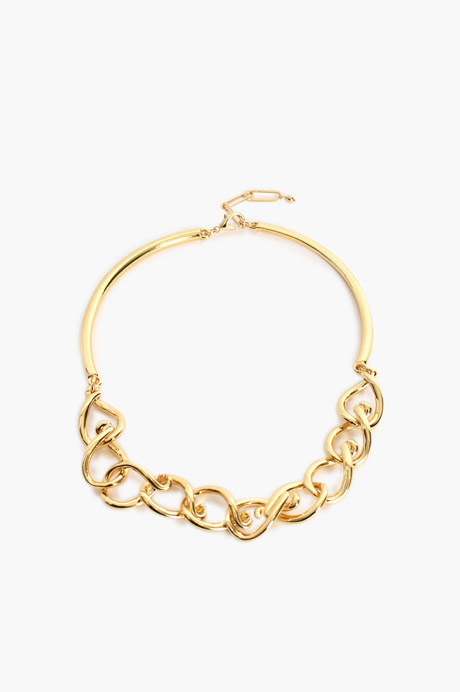 Metal Bar Back Chunky Chain Necklace (Gold)