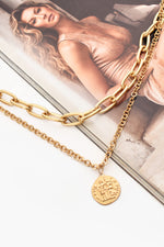 Coin Drop Short Layered Necklace (Gold)