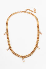 Mini Glass Drops Short Chain Necklace (Crystal/Gold)