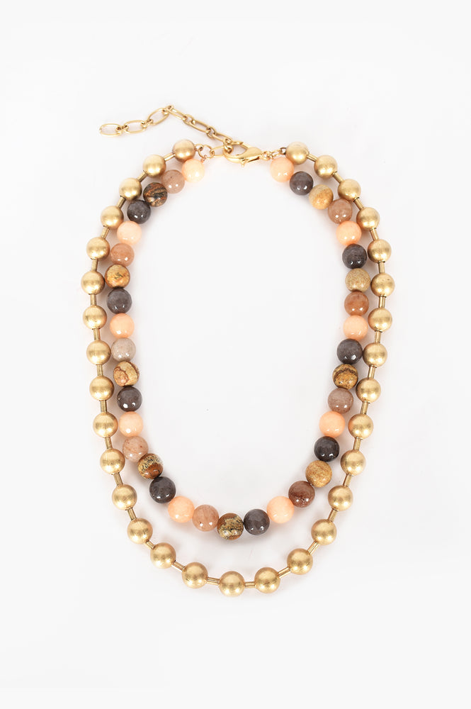 Natural Stone Metal Ball Short Necklace (Pastel/Gold)