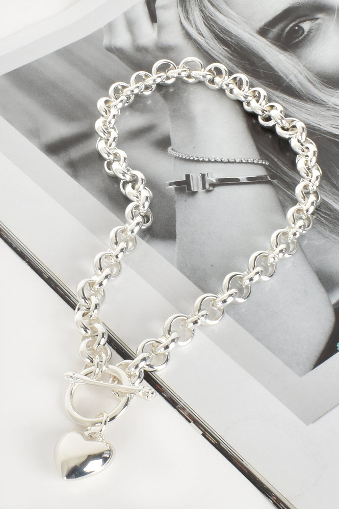 Heart Fob Round Link Chain Necklace (Silver)