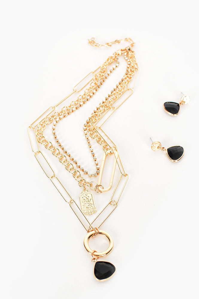 Glass Pendant Drop Layered Necklace (Black/Gold)