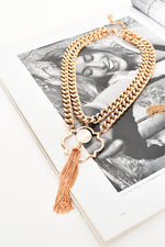 Pearl Tassel Front Double Chain Necklace (Cream Gold)